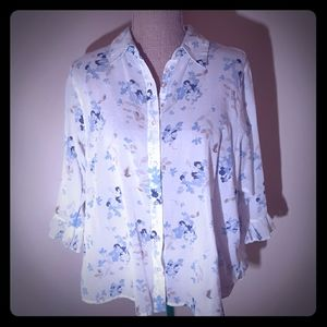Relativity sheer white & floral button up size 1X